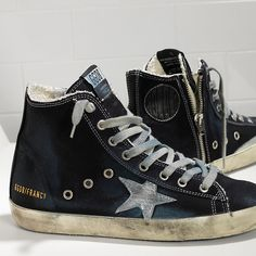 Snaekers FRANCY in Denim e Stella in Pelle - GCOWS591.A5 - Golden Goose  Sneakers d6bc8ee5f6c