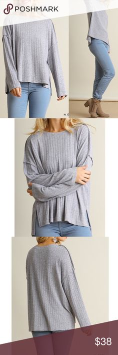 """❗️LAST S,M❗️Long sleeve oversized grey knit top Long sleeve knit top with side slits High-low hem  Good knit material, great to keep you warm in cooler weather Oversized fit  Material: 60% cotton, 40% polyester  Measurements:  Small: Bust: upto 44 inches Length front and back: 23.5"""" and 25.5""""  Medium: Bust: upto 46 inches Length front and back: 24"""" and 26""""  Large: Bust: upto 48 inches Length front and back: 24"""" and 26"""" Pink Peplum Boutique Sweaters Crew & Scoop Necks"""