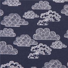 blue-white 'Nimbus' striped clouds Cloud 9 organic cotton fabric 1