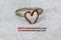 copper and silver open heart love toe ring - adjustable- mid finger ring  - comfortably fits size 4 thru 5 - mothers day gift - pinned by pin4etsy.com