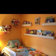 Rain gutter shelves....LOVE this!