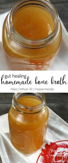 Pour yourself a cup of Nourishing and Gut Healing Homemade Bone Broth | Slow Cooker Recipe | Paleo | http://simplynourishedrecipes.com/bone-broth/
