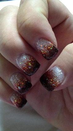 Pretty brown gradient fall nails
