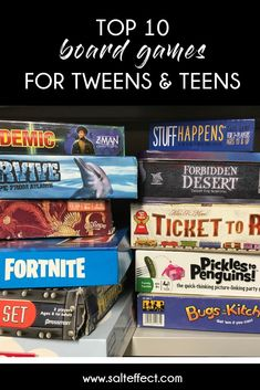 Board games are a great option for spending time with your teens and tweens. They're also a great alternative to screen time. Board games build reading comprehension skills because you want and need to understand the directions exactly to be able to play. Games also teach cooperation, strategy, patience, sportsmanship. #gamesforteens #gamesfortweens #familytime