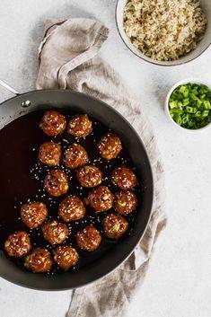 Baked Asian Turkey Meatballs with a sweet hoisin-based sauce