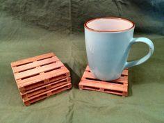 4 Coasters - Beverage Pallets - 4 cumala wood drink coaster set - Coffee Cup / Wine Glass Coasters -