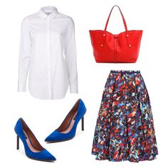 Bettina Skirt, Saloni $575 Button Down Shrt, Closed $158 Ambrosia Pumps, Rachel Zoe $295 Red Tote, Annabel Ingall $415