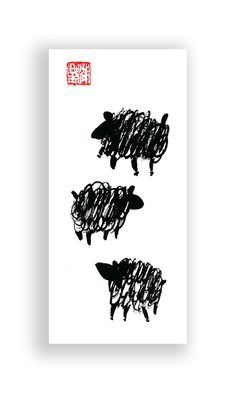 Year of the Sheep for the Chinese New Year Zodiac 2015 by ZenBrush original painting $25. Use code PIN10ZEN for 10% off.