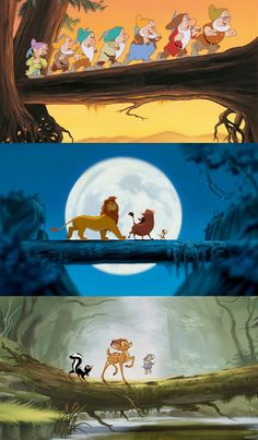 And now a collection of Disney characters walking across fallen trees.