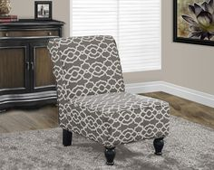 """Brown """" Bell Pattern """" Fabric Traditional Accent Chair"""