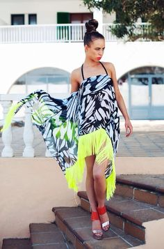 Lola butterfly print silk dress with neon fringing by coco riko. www.coco-riko.com Butterfly Print, Silk Dress, High Low, Neon, Swimwear, Dresses, Fashion, Silk Gown, Bathing Suits