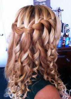 wwaterfall braid | waterfall braid hairstyles blonde