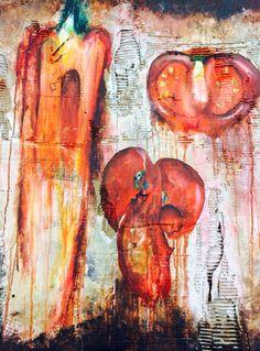 A-level painting based on decaying fruit and veg @ HighcrestAcademy