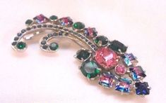 $40 - Joseph Wiesner of NY Vintage Colorful Pin Brooch With Givre
