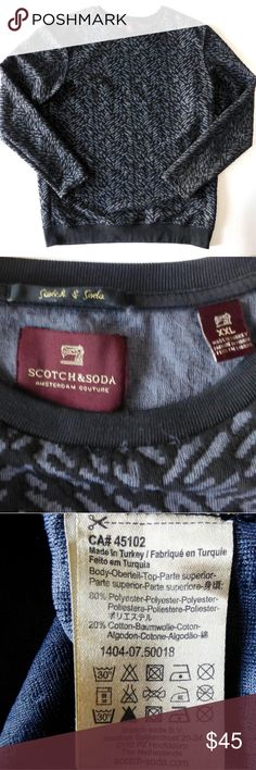 """Scotch & Soda XXL 2XL geometric sweatshirt sweater Geometric pattern in grey & black Fabric is a cross between a sweatshirt & a sweater Crew neck with long sleeves Fitted style 23.5"""" armpit to armpit 30.75"""" from back of neck to hem 80% polyester 20% cotton Scotch & Soda Sweaters Crewneck"""