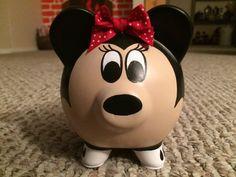 Disney Minnie Mouse Hand Painted Ceramic Piggy Bank Medium Red or Pink Minnie Mouse, Disney Mickey Mouse, Large Piggy Bank, Moise, Martha Stewart Crafts, Disney Food, Disney Travel, Hand Painted Ceramics, Making Memories