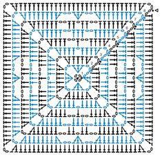 Motifs Granny Square, Crochet Square Blanket, Granny Square Crochet Pattern, Crochet Blocks, Crochet Pillow, Crochet Diagram, Crochet Chart, Crochet Squares, Crochet Granny
