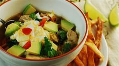 Chicken (or Meatless) Tortilla Soup    Make a gorgeous, healthy family meal in 15 minutes? Yes, it is very possible! This recipe is unbelievably quick, delicious, and full of protein and fiber.  It's a good recipe for the kids to help prepare, and they can embellish their own bowls of soup at the table to their tastes with the optional toppings listed below.