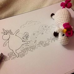 I tryed to draw my crocheted unicorn  #unicorn #handmade #handarbeit #handgemacht #einhorn #häkeln #crochet #drawing #doodle #niggyarts #funny #cute #fröhlich #lustig #happy #lovely #wolle #zeichnung #comic #fantasy #jumping #dancing