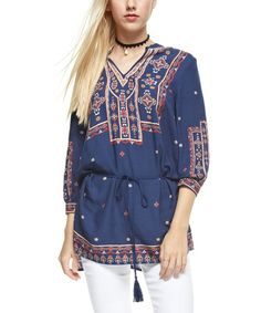 Look at this #zulilyfind! Navy Geometric Tie-Wasit Tunic #zulilyfinds