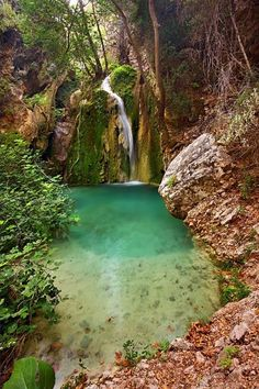 """De """"Great"""" waterfall, called by de locals, by de small river of Neraida in Kythira, Attiki, Attica_ Greece Places Around The World, Oh The Places You'll Go, Places To Travel, Places To Visit, Around The Worlds, Mykonos, Santorini, Dream Vacations, Vacation Spots"""