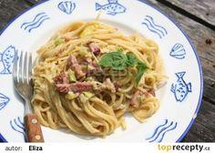 Špagety s uzeným masem, nivou a žloutky recept - TopRecepty.cz