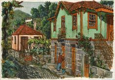 A house in pale green  Original small art 7x5 by Postalguarelas, $65.00