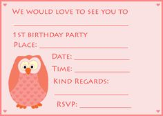 Printable crafty cute owl invitations 5 optional color httpwww 1st birthday owl invitations http1st birthday invitations solutioingenieria Gallery