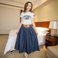 Cheap 2015 nueva primavera verano Casual Ladies Maxi falda de mezclilla  mujeres larga floja Jean Longa Saia falda envío gratis 807426745799