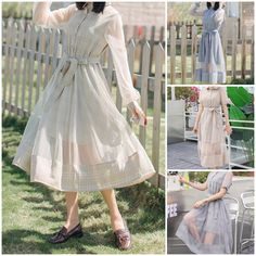 8ab167a2fe Beige/Grey Blue Grid Fairy Midi Dress SP1812264 #spreepicky #kawaiifashion  #jfashionstore #