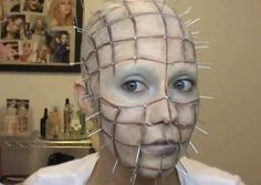 Prefer your horror a little on the older side? If you're a fan of Clive Barker's Hellraiser series, you'll love this totally creepy Pinhead Halloween look.