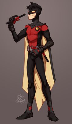 "samuraiblack: "" expanded on this idea. figured itd be a precursor to this look and his role as nightwing "" Tim Drake Red Robin, Robin Dc, Batman Robin, Robin Superhero, Anime Superhero, Batman Art, Nightwing, Robin Cosplay, Robin Costume"