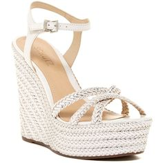 Schutz Monicah Woven Wedge Sandal ($145) ❤ liked on Polyvore featuring shoes, sandals, platform wedge sandals, open toe wedge sandals, high heel platform sandals, leather wedge sandals and metallic platform sandals