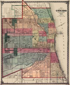Map of Chicago, 1875 (love the colors & font) Old Maps Of London, London Map, Seattle Street, Chicago Map, Chicago Illinois, Map Coasters, Printable Maps, Vintage Wall Art, Vintage Maps