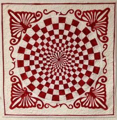 "Miniature quilt,  17"" square, by Teri at Making  Miniature Quilts:  "" I named it 'Blast from the Past' as it is a take off of the 1890-1910 Vortex Quilt."""