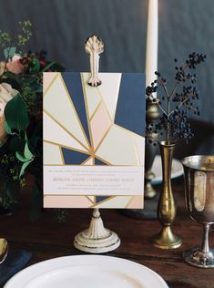 Briolette digitally printed + foil stamped wedding invitations by Ellie Snow for Bella Figura