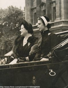 theprincessespalace:  Dressed in black mourning following the Death of King George VI, the Queen Mother and Princess Margaret attend Trooping the Colour in 1952.