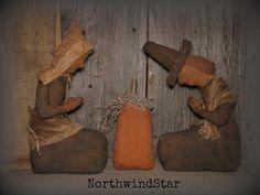 Primitive Thanksgiving Thankful Pilgrim Dolls and Pumpkin