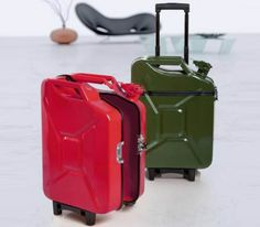 Attention gas and petroliana fans, the humble jerry can has now been upcycled! Presenting you with jerry can luggage, the ultimate traveling accessory.