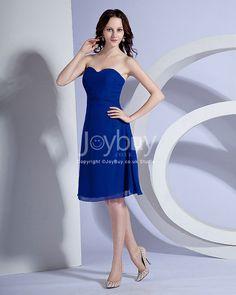 Sweetheart Chiffon Ruched Short Length Royal Blue Bridesmaid Dress