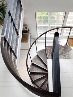 Industrial Design Spiral Metal Staircase, graphic elegance.