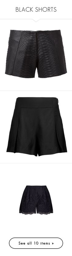 """BLACK SHORTS"" by aliceridler ❤ liked on Polyvore featuring shorts, black, pleated shorts, 10 crosby derek lam, navy, relaxed fit shorts, high-rise shorts, highwaist shorts, relaxed shorts and flared shorts"