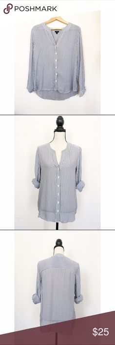 Ann taylor sheer blue pinstripe split neck Blouse Stunning and easy to dress up or down! Never worn but there is a minor pulled thread on one arm that isn't very noticeable but I thought I should mention it. Ann Taylor Tops Blouses