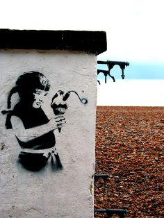 Brighton street-art / graffiti: Banksy on Brighton Beach