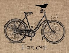 Vintage Bicycle Illustration with Bird Explore by VintageRestyled