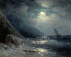 Moonlit Landscape with a Ship, 1881. Ivan Konstantinovich Aivazovsky. Oil on canvas