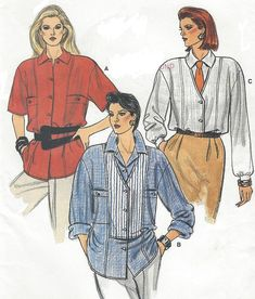5307f907c1d 1980s Womens Big Shirt Oversized Shirt with Bodice Details Sleeve  Variations Vogue Sewing Pattern 9263 Size 12 14 16 Bust 34 36 38