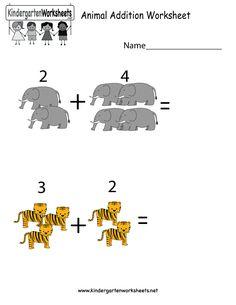 Kindergarten Animal Addition Worksheet Printable