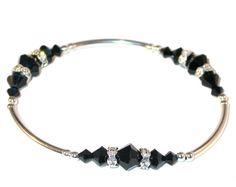 JET BLACK Crystal Bracelet Stretch Sterling Silver Handcrafted Swarovski Elements by CharminglyYoursToo on Etsy