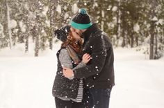 Snow Kiss | Snow Engagement | Bend, Oregon By: MacKenzie Brown Photography